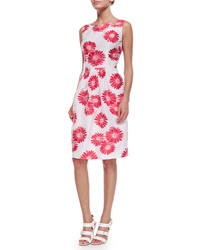 Carmen Marc Valvo Sleeveless Floral Jacquard Dress
