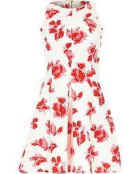 River Island White Floral Print Jersey Skater Dress