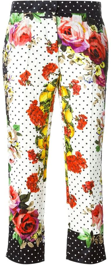 Dolce Gabbana Multi Print Cropped Trousers Where To Buy How To
