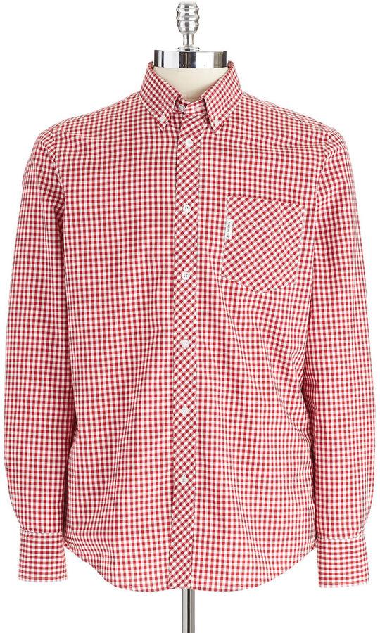 White And Red Gingham Dress Shirt Ben Sherman Gingham