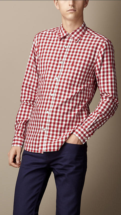Burberry cotton gingham shirt where to buy how to wear for Pink gingham shirt ladies