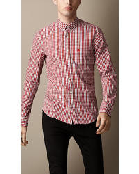 Burberry Check Cotton Blend Shirt
