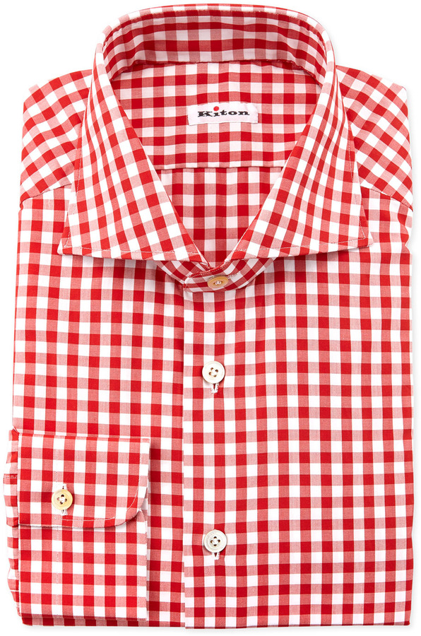 Kiton large gingham dress shirt red where to buy how for Red and white gingham shirt women s