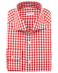 Large gingham dress shirt red medium 31375
