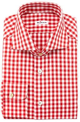 Kiton Large Gingham Dress Shirt Red