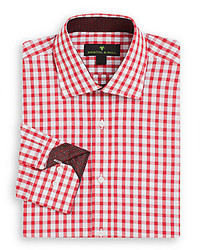 Regular fit contrast trim gingham dress shirt medium 318370
