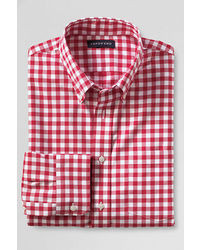 Lands' End Tailored Fit No Iron Twill Shirt Eggshell Tattersall