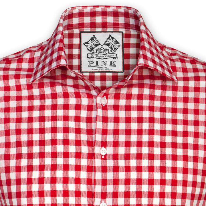 white and red gingham dress shirt thomas pink plato check