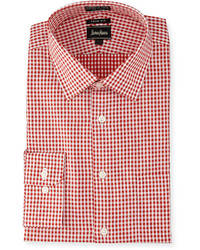 Neiman Marcus Trim Fit Non Iron Gingham Dress Shirt Red
