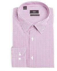 White and red gingham check cotton point collar dress shirt medium 31373