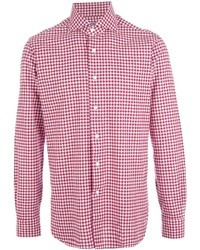 White and Red Gingham Long Sleeve Shirt