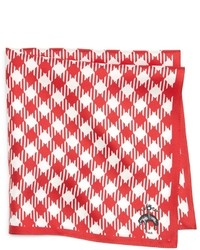 White and Red Gingham Pocket Square