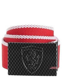 Puma Ferrari Adjustable Web Belt Carbon Metal Buckle Osfa Red