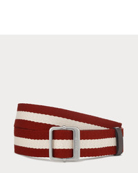 Bally Tinait Red Beige Canvas Belt