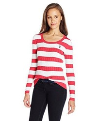 U.S. Polo Assn. Juniors Striped Cable Knit Scoop Neck Pullover