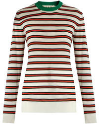 Marni Striped Contrast Collar Cashmere Blend Sweater