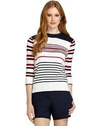 Brooks Brothers Three Quarter Sleeve Stripe Boatneck Sweater