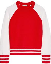 Rag & Bone Jana Two Tone Merino Wool Sweater Red