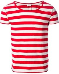 White and Red Horizontal Striped Crew-neck T-shirt