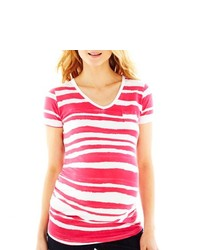 Asstd National Brand Maternity Watercolor Striped Tee