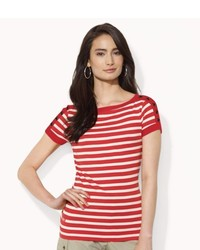 Lauren Ralph Lauren Buttoned Shoulder Striped Top