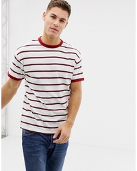 18845d0d50b1 Men's White and Red Horizontal Striped Crew-neck T-shirts from Asos ...