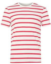 Topman Red And Off White Stripe Slim Fit T Shirt