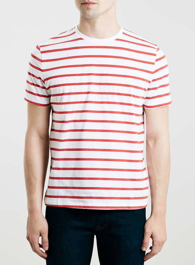 Topman Red And White Stripe Slim Fit T Shirt | Where to buy & how ...