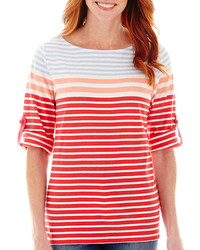 jcpenney St Johns Bay Elbow Sleeve Roll Tab Stripe Boatneck T Shirt