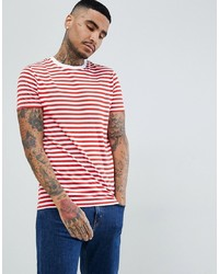 ASOS DESIGN Stripe T Shirt In Red And White