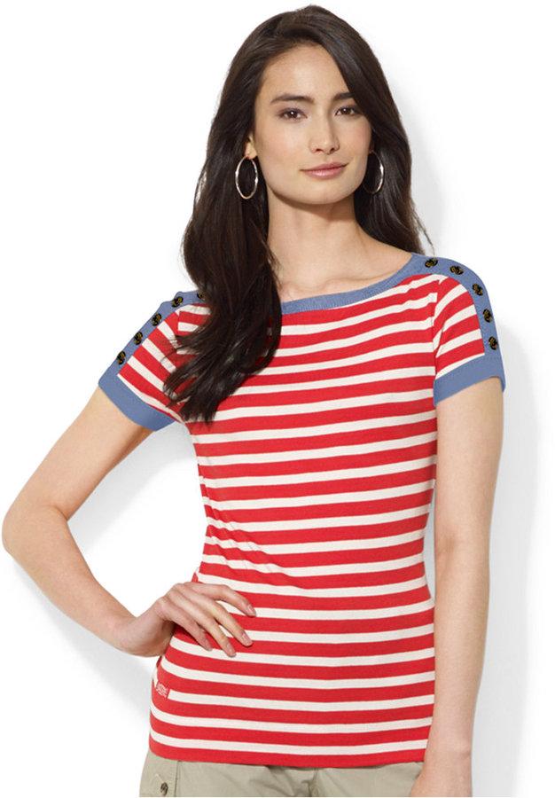 5a18411a Lauren Ralph Lauren Striped Button Shoulder Tee, $39 | Macy's ...