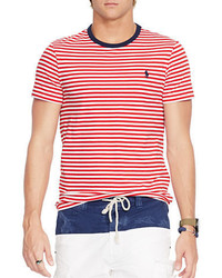 4d6bbfb078ad Men's White and Red Horizontal Striped Crew-neck T-shirts by Polo ...