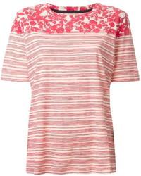 Tory Burch Striped Leaf Print T Shirt