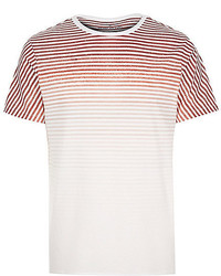 cb1b035722d2 Men's White and Red Horizontal Striped Crew-neck T-shirts by River ...