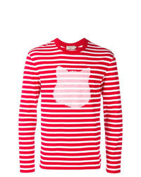 White and Red Horizontal Striped Long Sleeve T-Shirt