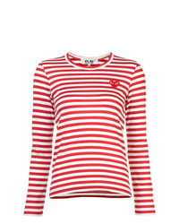 Comme Des Garcons Play Comme Des Garons Play Little Red Heart Striped T Shirt