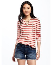 Old Navy Relaxed Lace Up Tee For