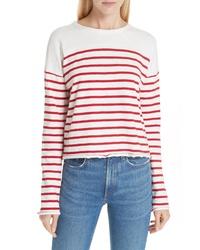 4de147c8a6 Women's White and Red Horizontal Striped Long Sleeve T-shirt, Blue ...