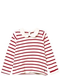 Petit Bateau Red And White Collared Tee