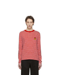 AMI Alexandre Mattiussi Red And White Smiley Edition Striped T Shirt
