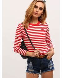Romwe Red White Long Sleeve Striped T Shirt