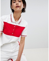 White and Red Horizontal Striped Polo