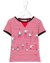 Rykiel Enfant Cat Print Striped T Shirt