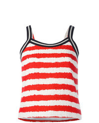 White and Red Horizontal Striped Tank