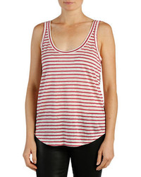 Paige Striped Linen Racerback Tank Top