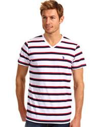 U.S. Polo Assn. Striped V Neck T Shirt With Small Pony