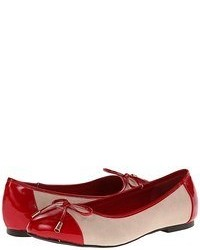 White and Red Leather Ballerina Shoes