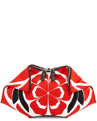 White and Red Leather Clutch