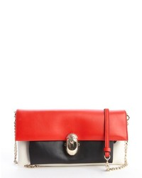 Red black and white leather khepira convertible clutch medium 118041