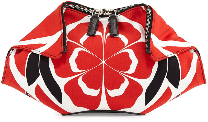 66ac71c50 ... White and Red Leather Clutches Alexander McQueen Small De Manta Floral  Print Clutch Bag Redblackwhite ...